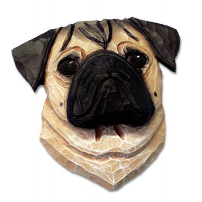 Pug Head Plaque Figurine Fawn