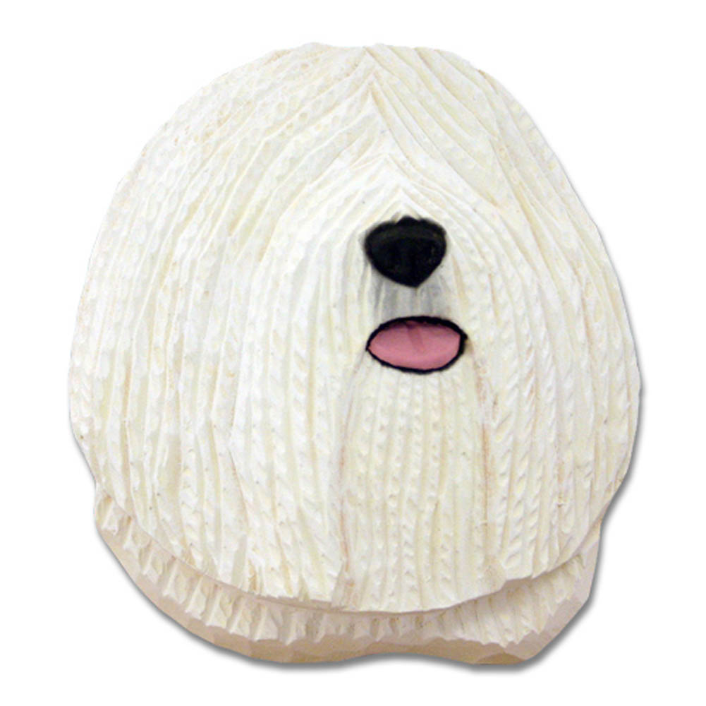Puli Head Plaque Figurine White