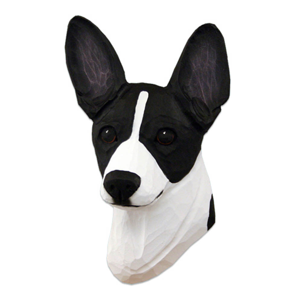 Rat Terrier Head Plaque Figurine Black/White