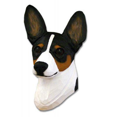 Rat Terrier Head Plaque Figurine Tri 1