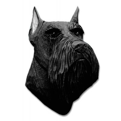 Schnauzer Head Plaque Figurine Black Miniature 1