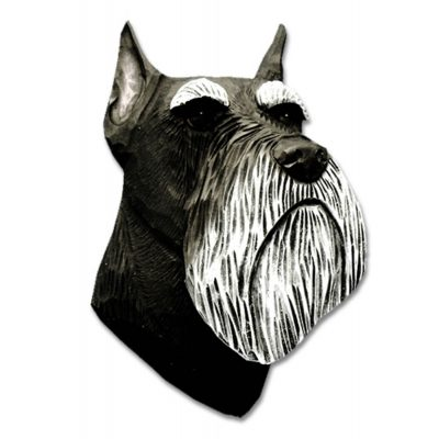 Schnauzer Head Plaque Figurine Black/Silver Miniature