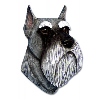 Schnauzer Head Plaque Figurine Salt/Pepper Miniature