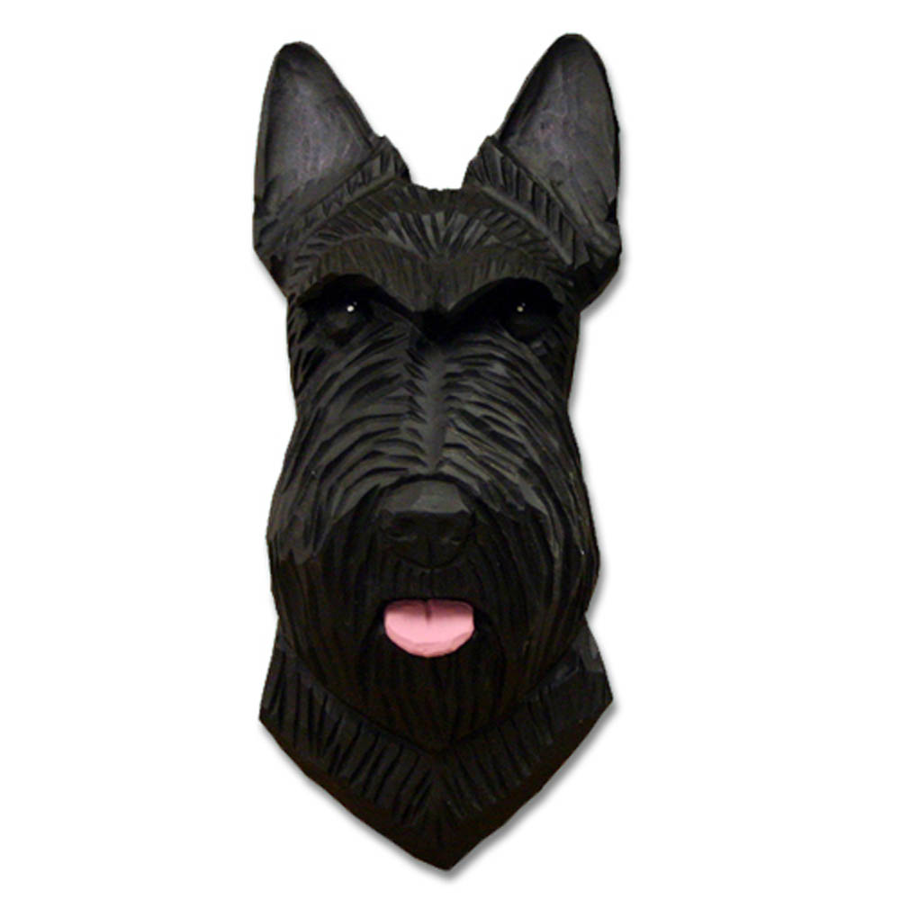 Scottish Terrier Head Plaque Figurine Black