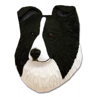 Sheltie Head Plaque Figurine Black Bi