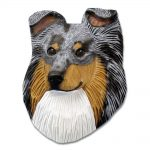 Sheltie Head Plaque Figurine Blue Merle