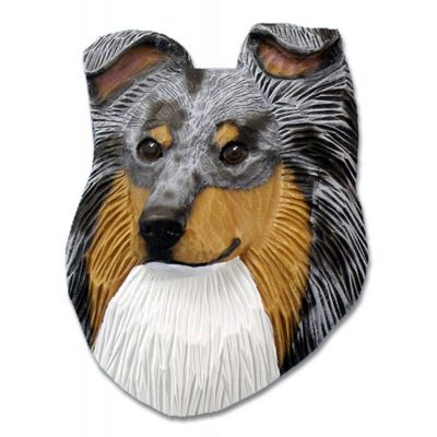 Sheltie Head Plaque Figurine Blue Merle 1