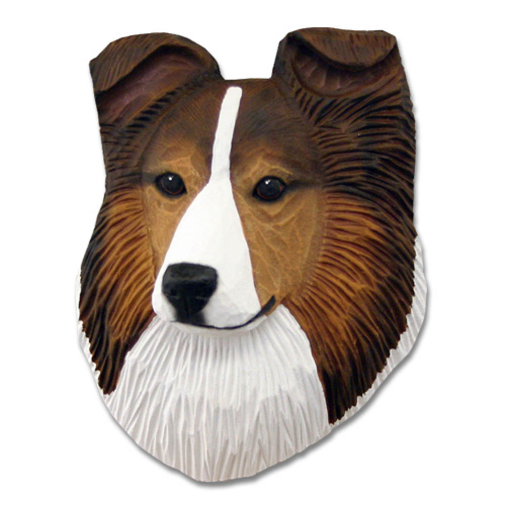 Sheltie Head Plaque Figurine Sable