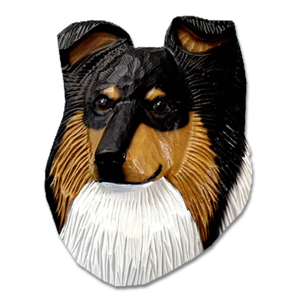 Sheltie Head Plaque Figurine Tri