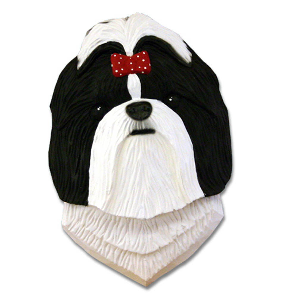 Shih Tzu Head Plaque Figurine Black/White