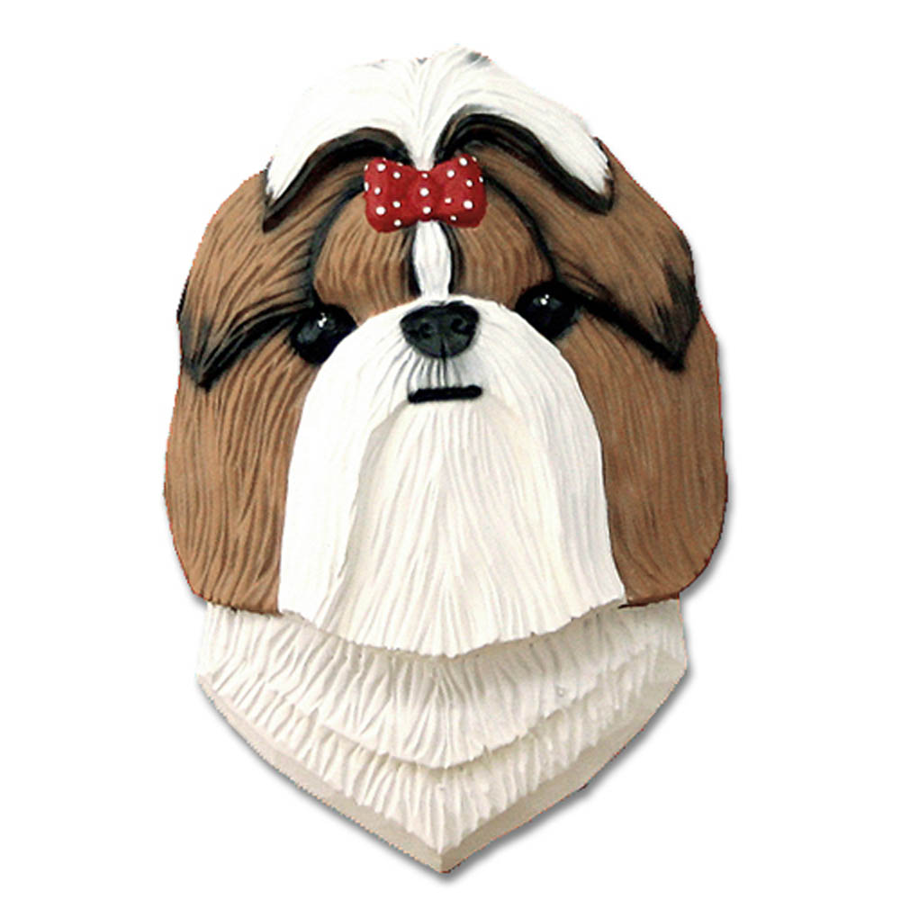 Shih Tzu Head Plaque Figurine Brown/White