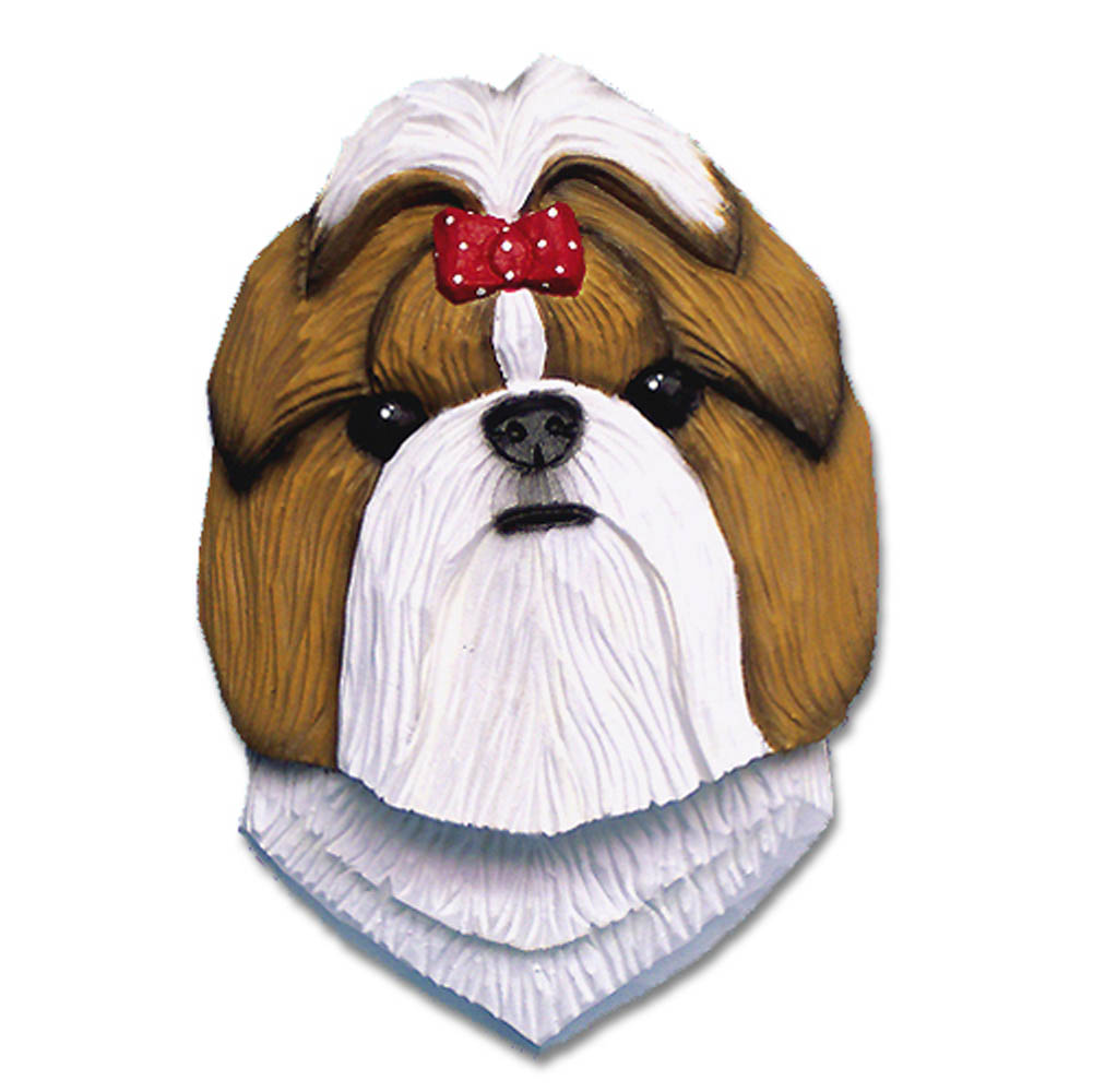 Shih Tzu Head Plaque Figurine Gold/White