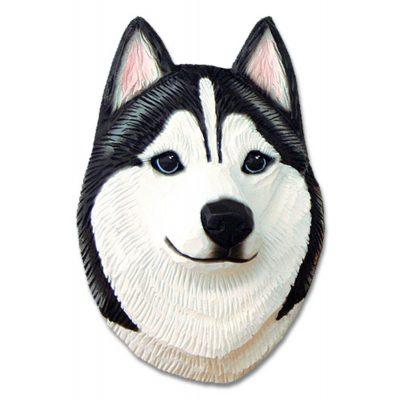 Husky Head Plaque Figurine Black/White 1