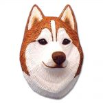 Husky Head Plaque Figurine Red/White 1