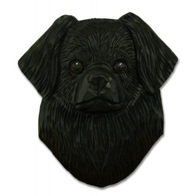 Tibetan Spaniel Head Plaque Figurine Black 1