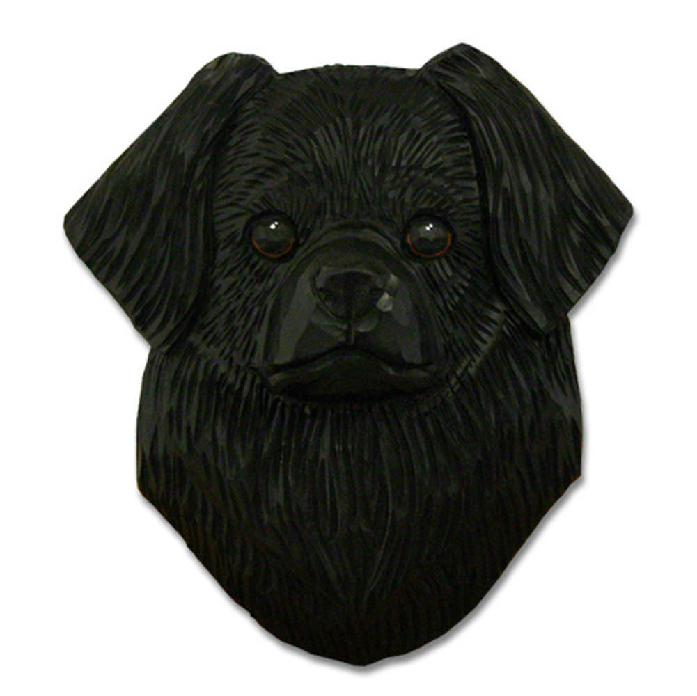 Tibetan Spaniel Head Plaque Figurine Black