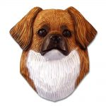 Tibetan Spaniel Head Plaque Figurine Red
