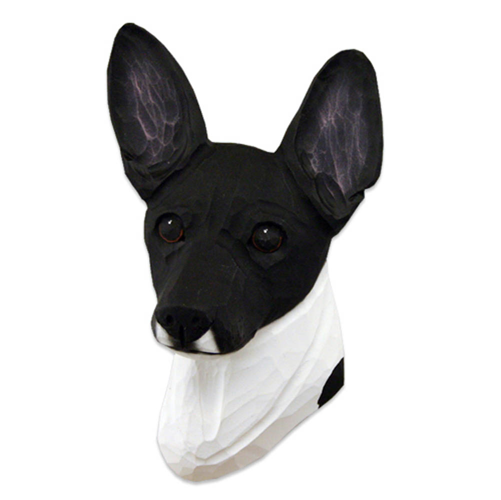 Fox Terrier Head Plaque Figurine Black/White Toy