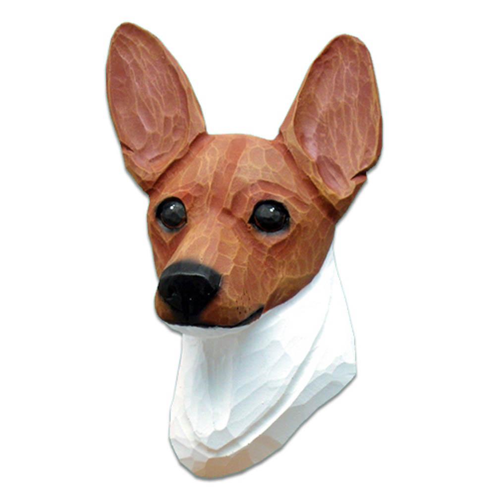 Fox Terrier Head Plaque Figurine Red/White Toy