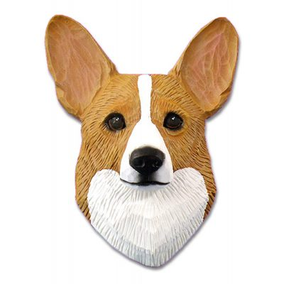 Corgi Head Plaque Figurine Blonde Pembroke