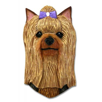 Yorkie Head Plaque Figurine