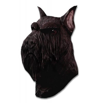 Schnauzer Head Plaque Figurine Black