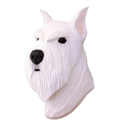 Schnauzer Head Plaque Figurine White