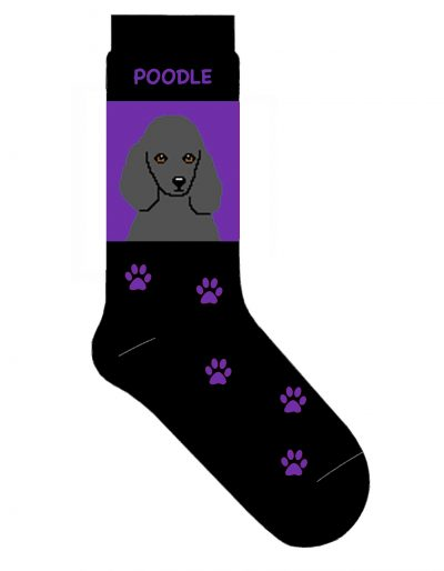 Poodle Socks Gray on Purple
