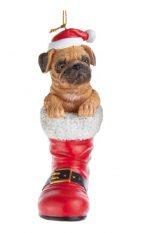 Pug Boot Ornament Fawn
