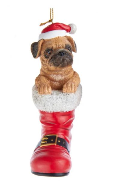 Pug Boot Ornament Fawn