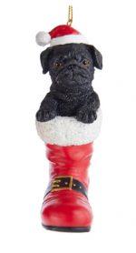 Pug Black Boot Ornament