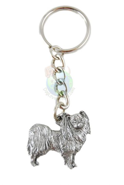 Papillon-Dog-Fine-Pewter-Silver-Keychain-Key-Chain-Ring-181182692340