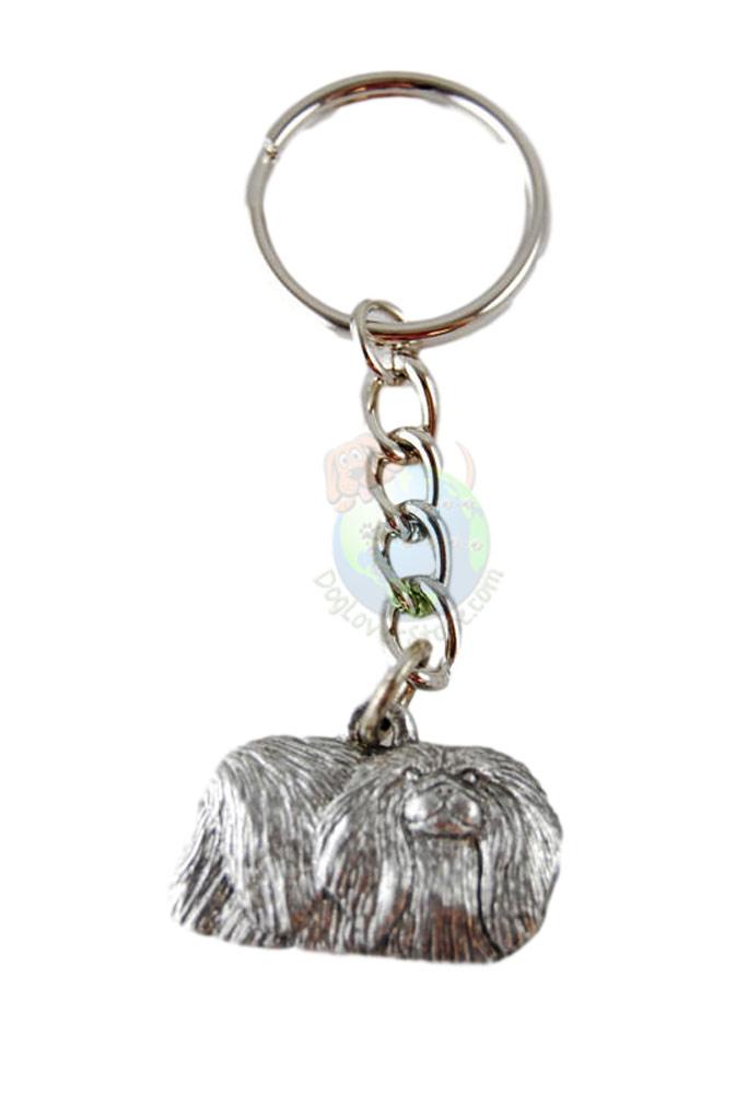 Pekingese Pewter Keychain