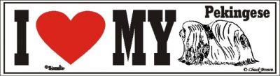 I Love My Pekingese Dog Bumper Sticker 1