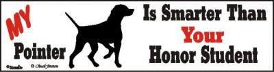 Pointer Smart Dog Bumper Sticker