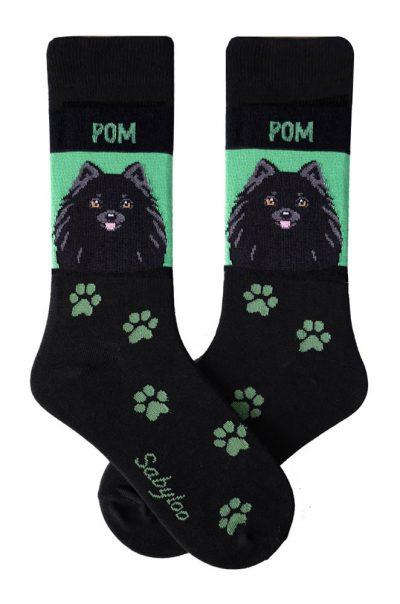 Pomeranian Black Socks - Green & Black in Color