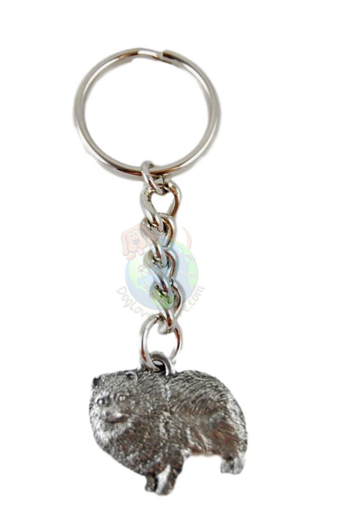 Pomeranian Pewter Keychain