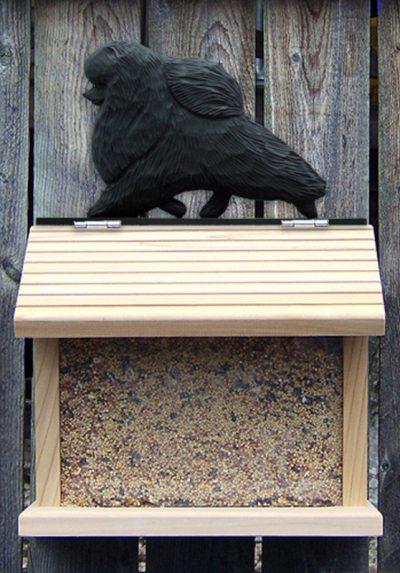 Pomeranian Hand Painted Dog Bird Feeder Black 1