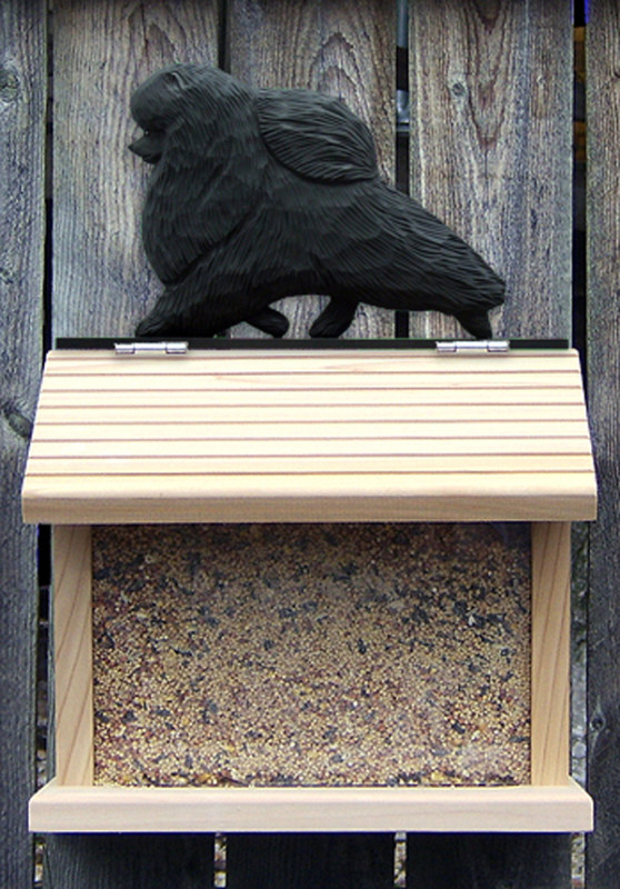 Pomeranian Hand Painted Dog Bird Feeder Black