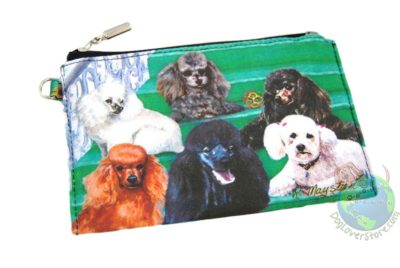 6 Poodles - White, Black, & Apricot Sitting on Stairs Design on Zippered Wallet Bag