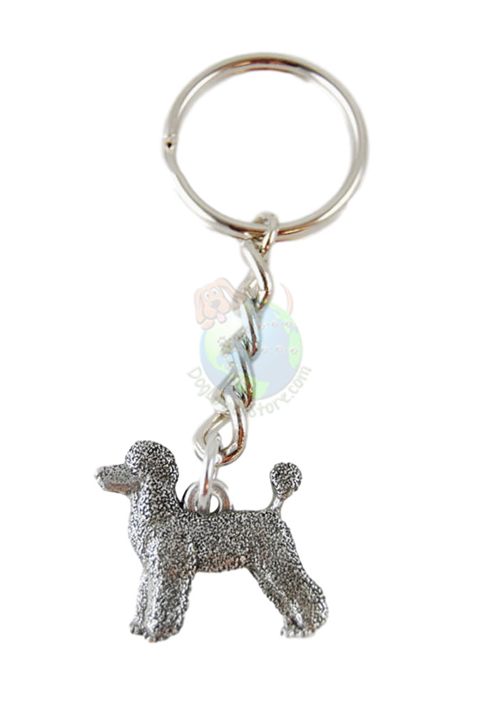 Poodle Sport Cut Pewter Keychain