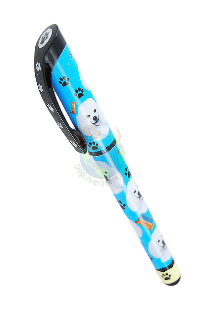 White Poodle Writing Pen Blue in Color