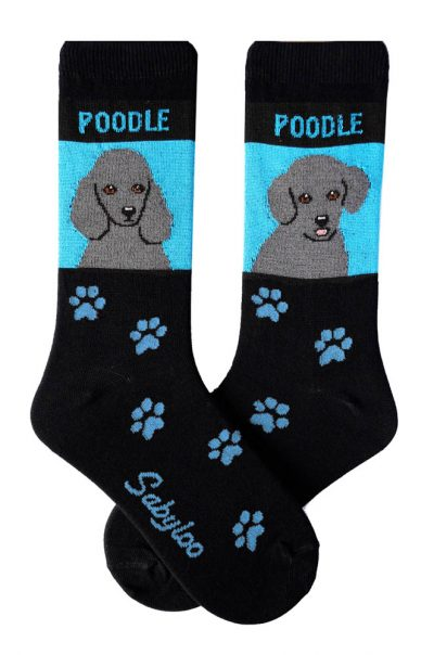 Poodle Gray Standard & Sport Cut Socks - Black and Blue in Color