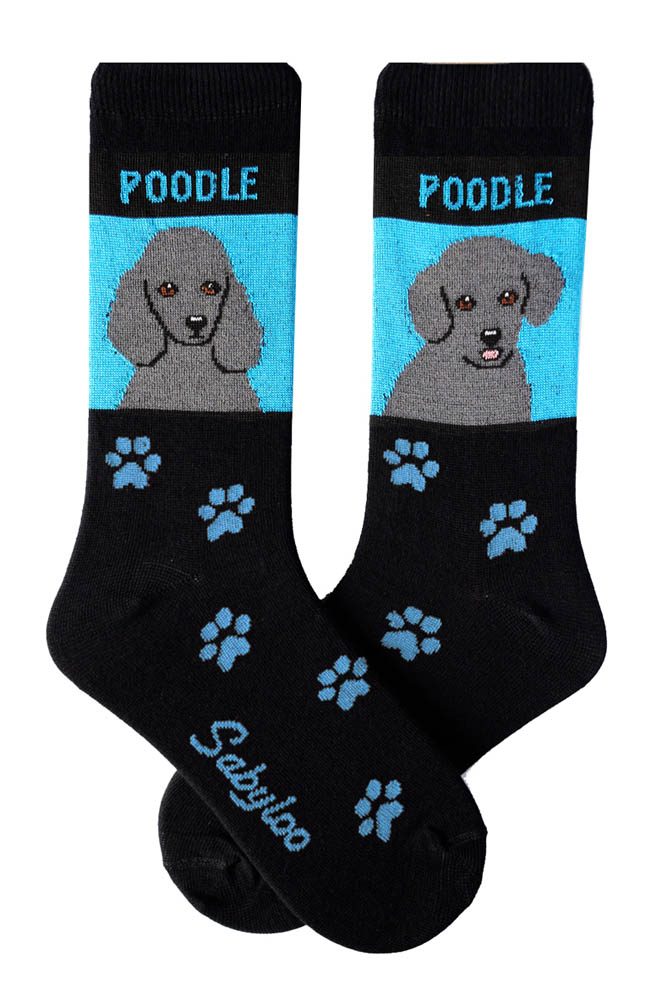 Poodle Gray Standard & Sport Cut Socks - Black and Blue in Color