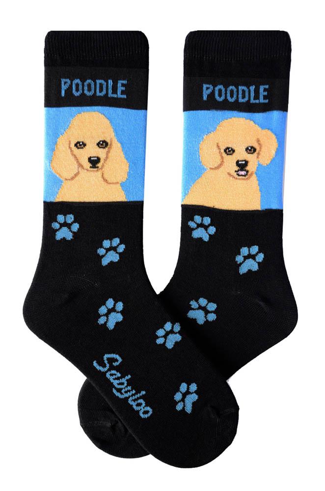 Poodle Apricot & Poodle Sport Cut Socks - Black and Blue in Color