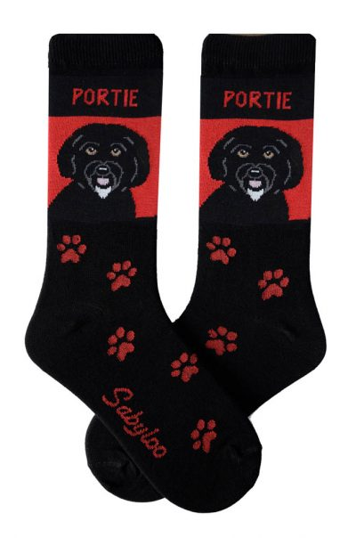 Portuguese Water Dog Socks - Red and Black in Color