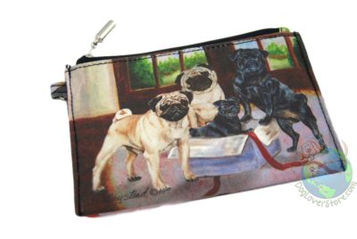 2 Black Pugs & 2 Fawn Pugs In House Design on Zippered Coin Bag Wallet