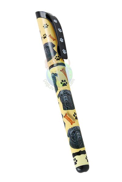 Black Pug Writing Pen Yellow in Color