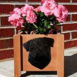 Pug Planter Flower Pot Black 1