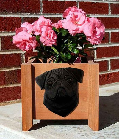 Pug Planter Flower Pot Black